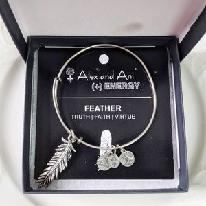 Alex and Ani Silver Large Feather Charm Bracelet